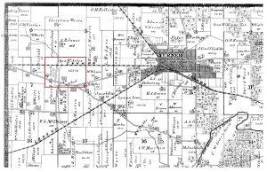 McAuley land on 1874 Winfield township map