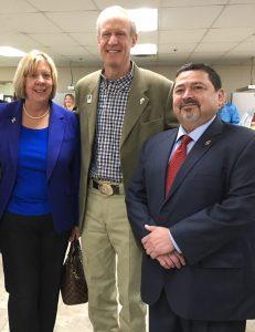 Alderman Noreen Ligino-Kubinski, Illinois Governor Bruce Rauner and Mayor Ruben Pineda.
