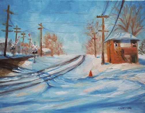 Photo of Maggie Capettini painting Snow Tracks
