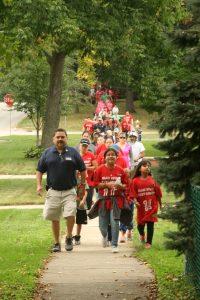 Mayor Pineda on walk with school families