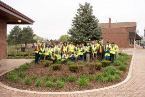 Group photo of West Chicago volunteers in parkway garden