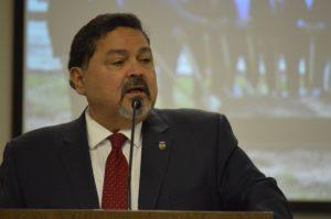 Mayor Ruben Pineda at lectern