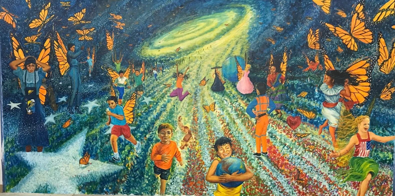 Butterfly children mural in West Chicago Illinois