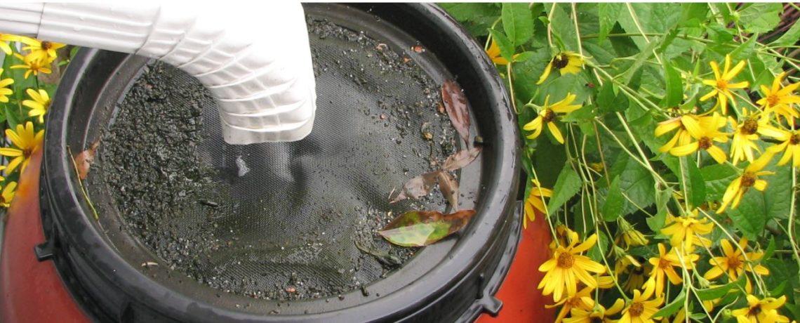 Drain letting water into rain barrel