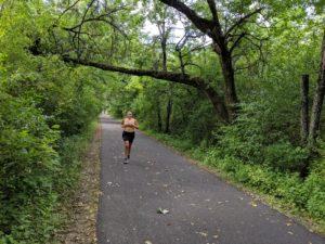 Women running on trail