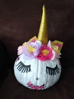 pumpkin decorated like a unicorn