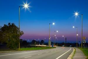 Street lights on road