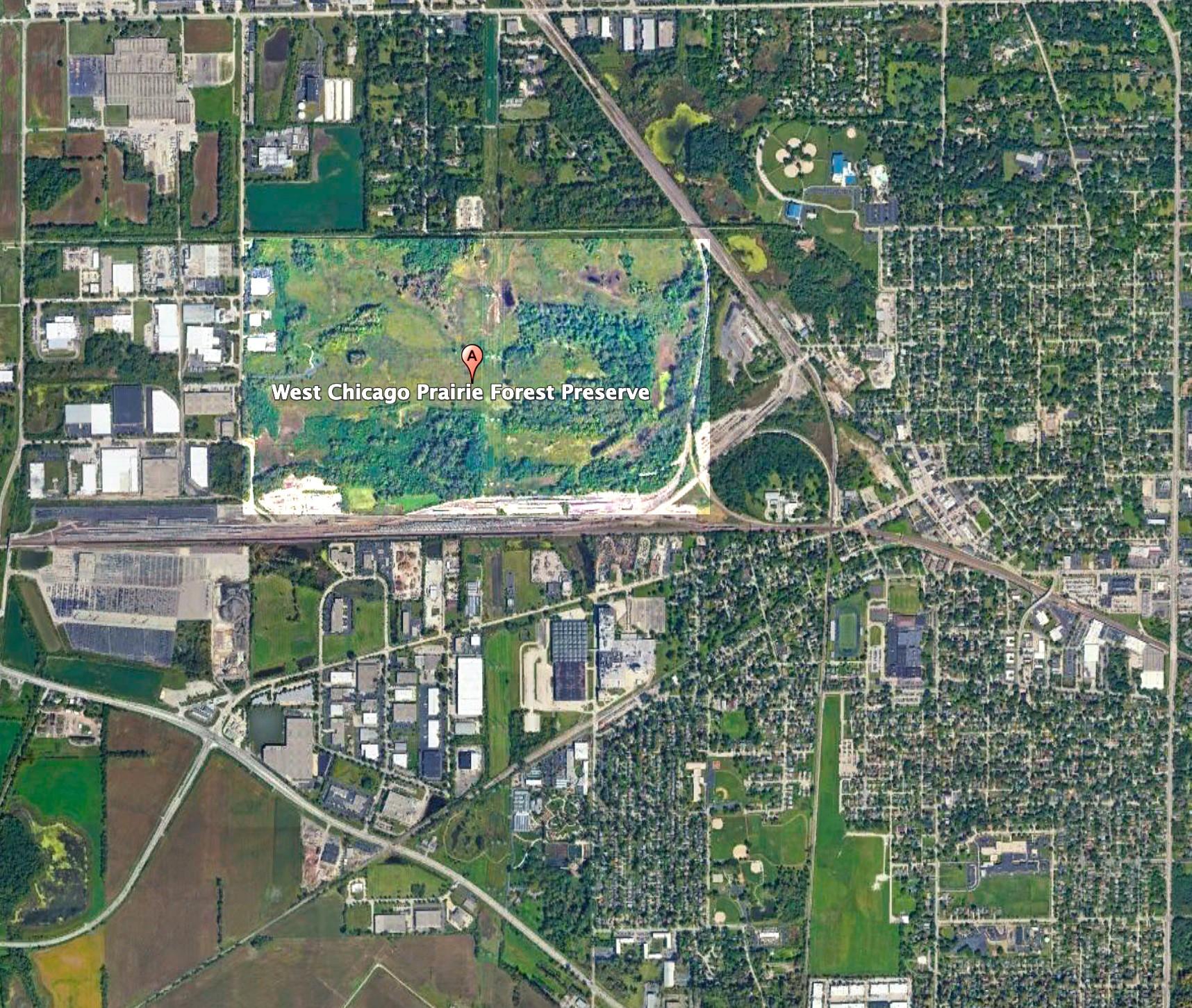 West Chicago Prairie aerial view